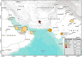 Iran Earthquake tweet intensity per location