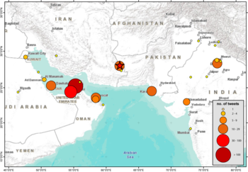 Iran Earthquake tweets per location