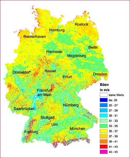 maximum gust speeds in germany with an exceedance probability of 002 per year equals a mean return period of 50 years